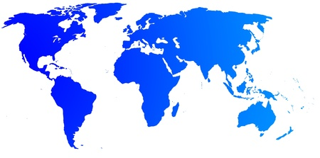 asia map: High quality blue map of the World