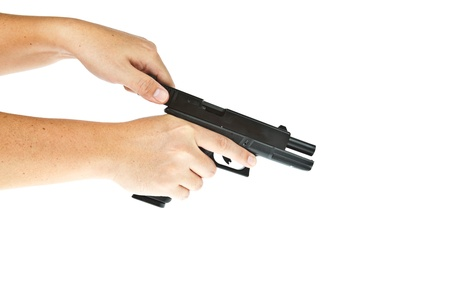 bb gun: Airsoft hand gun, glock model with hand