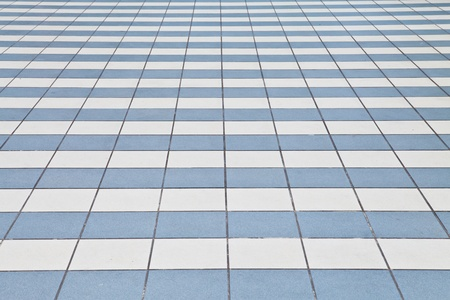 White and blue tile floor Stock Photo