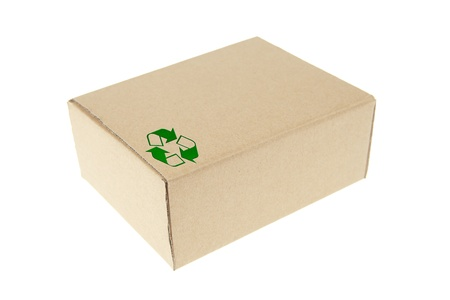 Brown paper box with recycle symbol photo