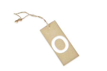 Brown paper tag with letter O cut Banco de Imagens
