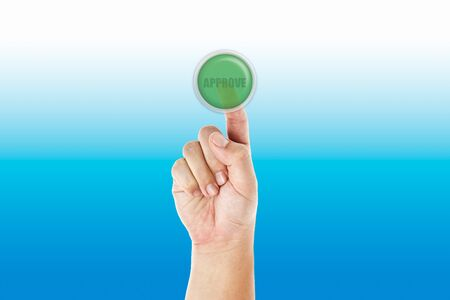Hand push approve button Stock Photo - 11779416