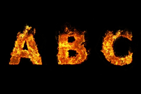 Fire on letter A B C photo