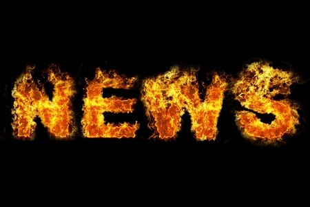 hot announcement: Fire news text Stock Photo