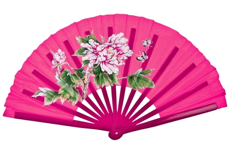 Pink oriental chinese fan isolated on white background photo