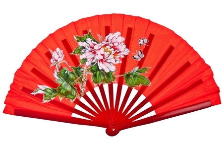 Red oriental chinese fan isolated on white background Stock Photo