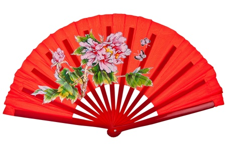 Red oriental chinese fan isolated on white background photo