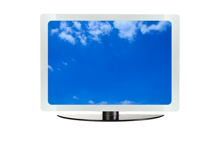Computer screen with blue sky isolated on white background photo