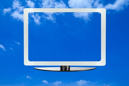 Computer screen with blue sky photo