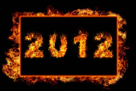 New Year 2012 with fire in burning frame Stock Photo - 11779587