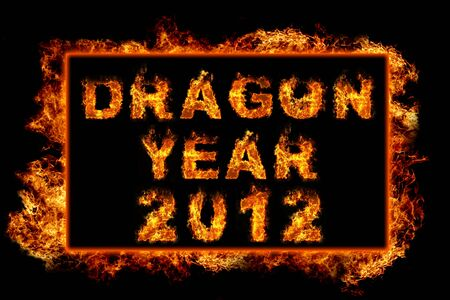 Fire Frame with text dragon year 2012 photo