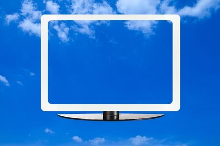 Computer screen on blue sky Stock Photo