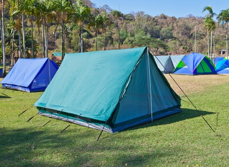 Camping tent in the mountains Stock Photo