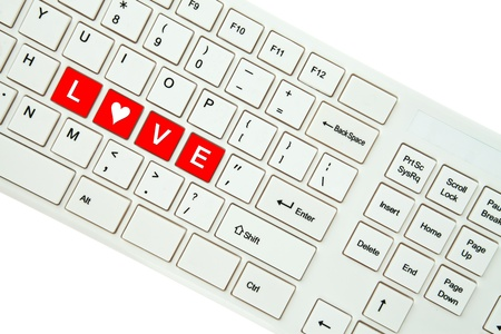 Wording Love on computer keyboard isolated on white background Stock Photo - 11999306