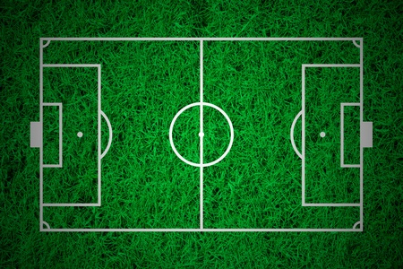 Soccer field layout on green grass background photo
