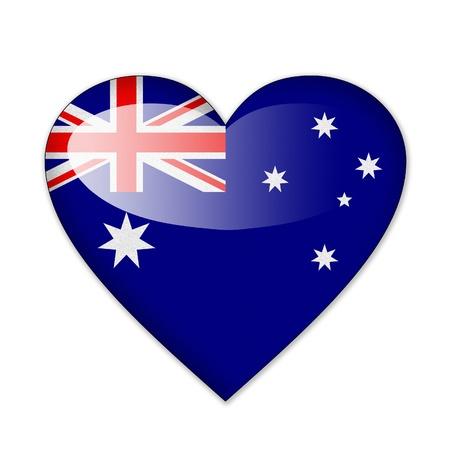 ハートの形の白い背景で隔離のオーストラリアの旗 写真素材