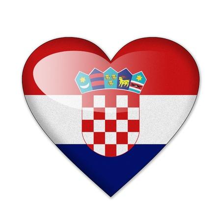 ハートの形の白い背景で隔離のクロアチアの旗 写真素材