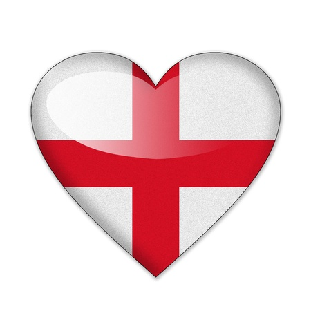 England flag in heart shape isolated on white background photo
