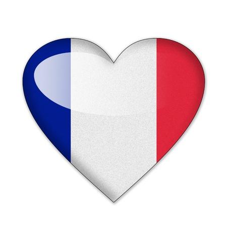 ハートの形の白い背景で隔離でフランスの旗