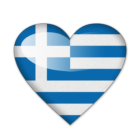 Greece flag in heart shape isolated on white background photo