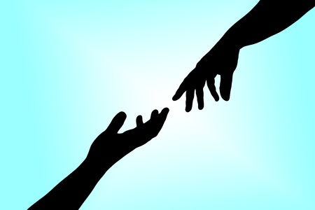hand outline: Helping hands Stock Photo