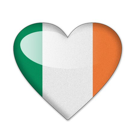 Ireland flag in heart shape isolated on white background photo
