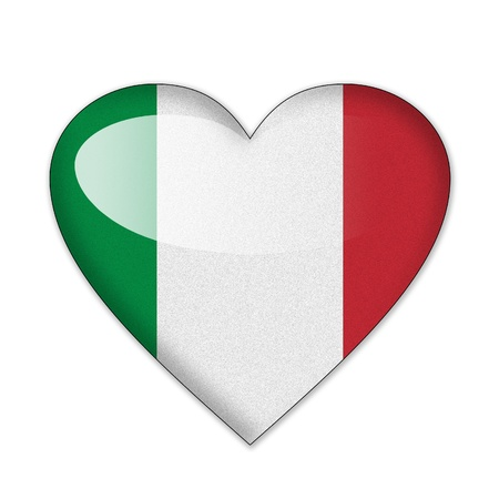 Italy flag in heart shape isolated on white background photo