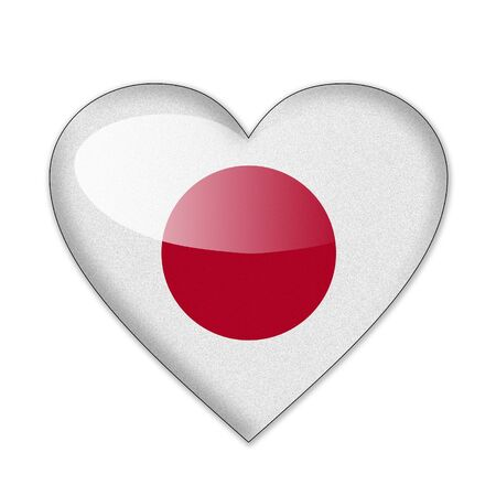Japan flag in heart shape isolated on white background photo