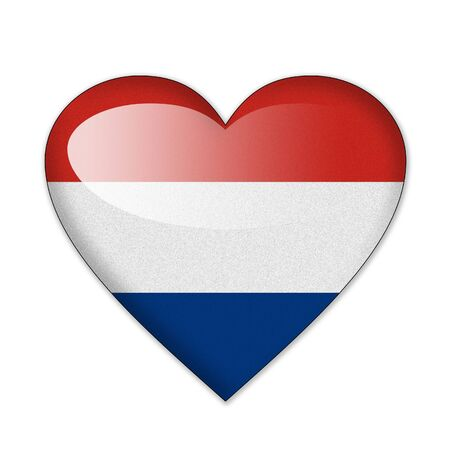 Netherlands flag in heart shape isolated on white background photo