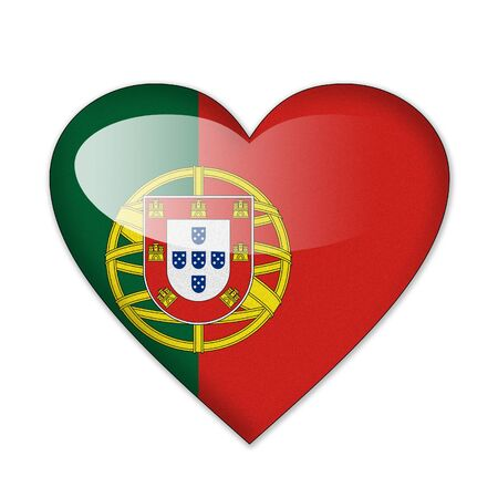 Portugal flag in heart shape isolated on white background photo