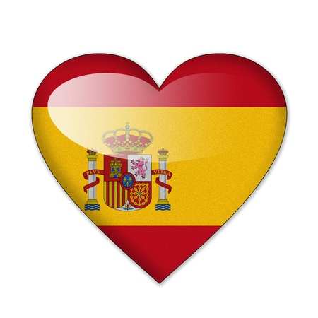 Spain flag in heart shape isolated on white background photo