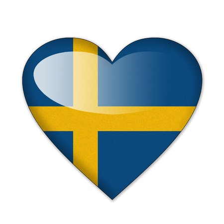 Sweden flag in heart shape isolated on white background photo