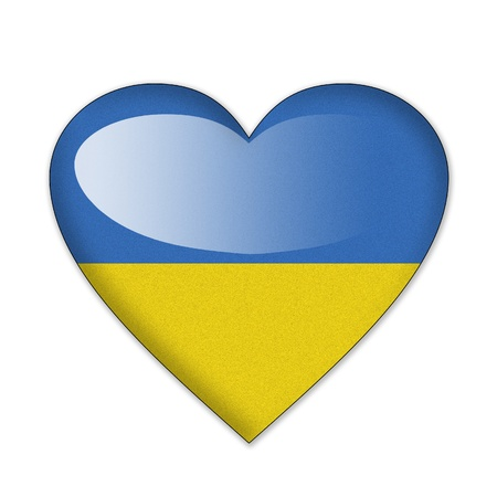 Ukraine flag in heart shape isolated on white background photo