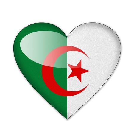 Algeria flag in heart shape isolated on white background Stock Photo