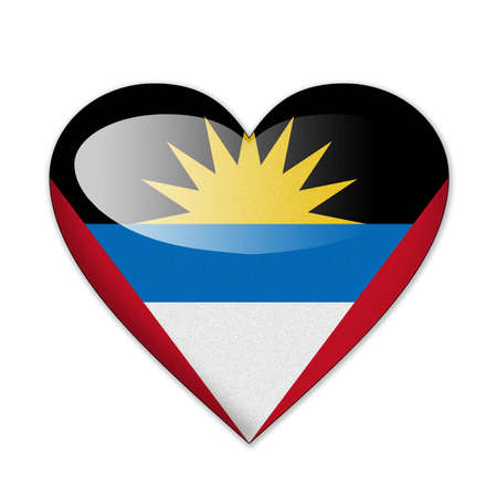 barbuda: Antigua and Barbuda flag in heart shape isolated on white background Stock Photo