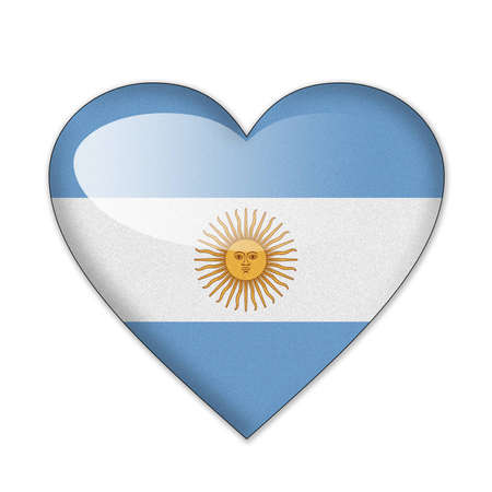 argentine: Argentina flag in heart shape isolated on white background Stock Photo