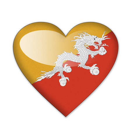Bhutan flag in heart shape isolated on white background Stock Photo - 12702868