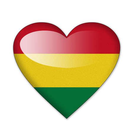 bandera de bolivia: Bandera de Bolivia en forma de coraz�n sobre fondo blanco Foto de archivo