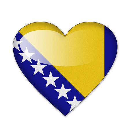 herzegovina: Bosnia and Herzegovina flag in heart shape isolated on white background Stock Photo