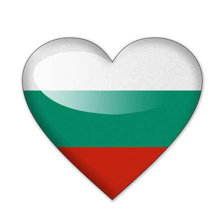 Bulgaria flag in heart shape isolated on white background photo