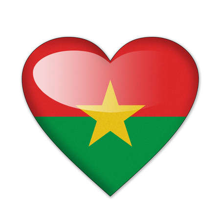 Burkina Faso flag in heart shape isolated on white background photo