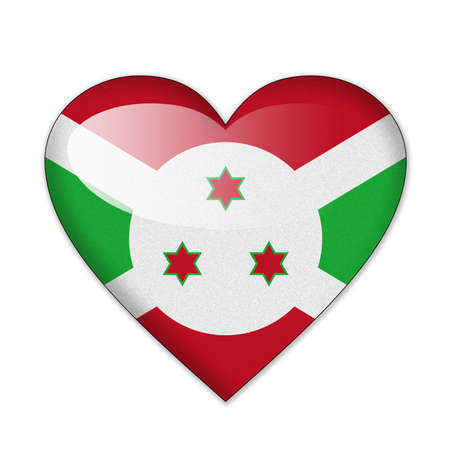 Burundi flag in heart shape isolated on white background photo