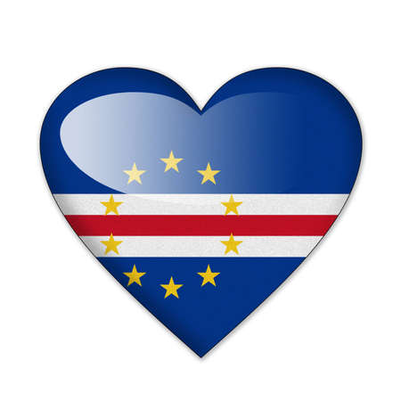 cape verde: Cape Verde flag in heart shape isolated on white background
