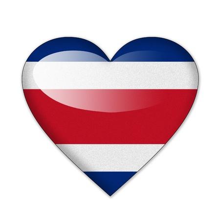 bandera de costa rica: bandera en forma de corazón sobre fondo blanco