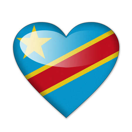 Congo flag in heart shape isolated on white background photo