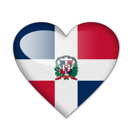 dominican republic: Dominican flag in heart shape isolated on white background Stock Photo