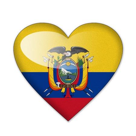 republic of ecuador: Ecuador flag in heart shape isolated on white background