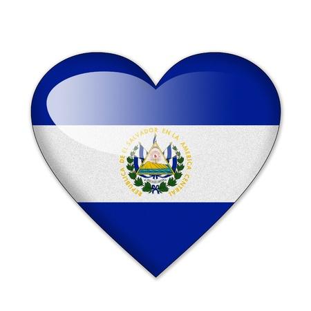 bandera de el salvador: Bandera de El Salvador en forma de coraz�n sobre fondo blanco Foto de archivo