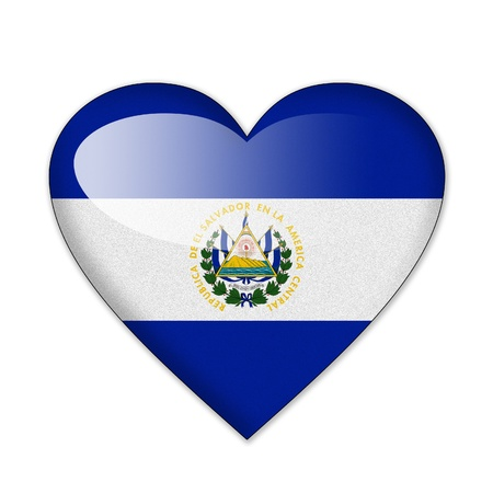 El Salvador flag in heart shape isolated on white background photo