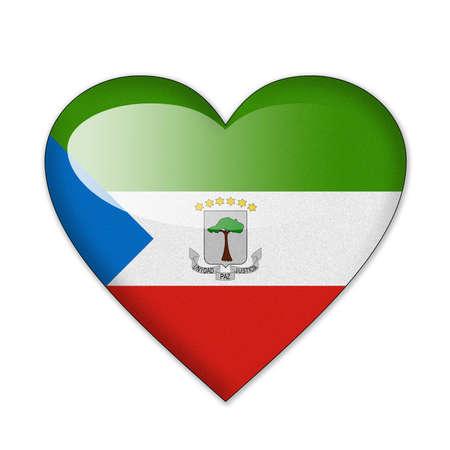Bandera de Guinea Ecuatorial en forma de corazón sobre fondo blanco Foto de archivo
